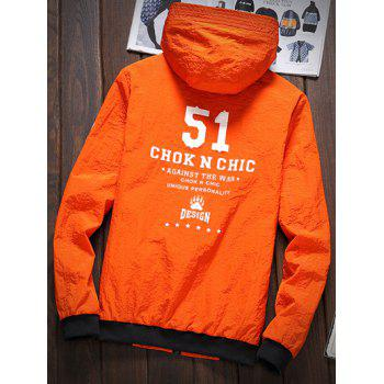 Stripe 51 Printed Zipper-Up Hooded Jacket - ORANGE ORANGE