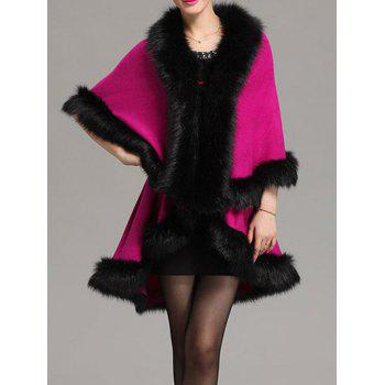 Faux Fur Woolen Cape Coat