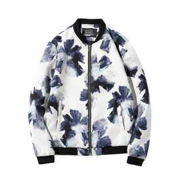 Textured Zipper-Up Floral Printed Jacket