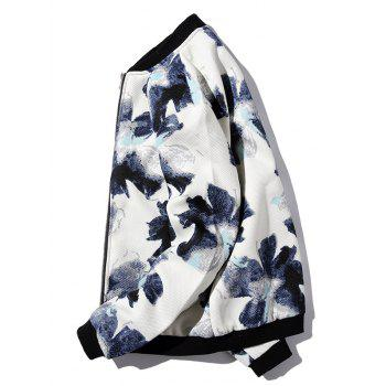 Textured Zipper-Up Floral Printed Jacket - WHITE M