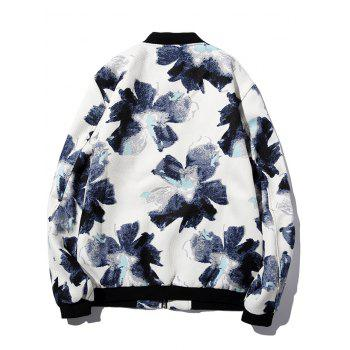 Textured Zipper-Up Floral Printed Jacket - WHITE WHITE