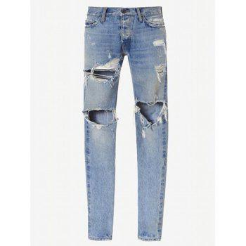 Narrow Feet Zip Cuff Knee Hole Ripped Jeans