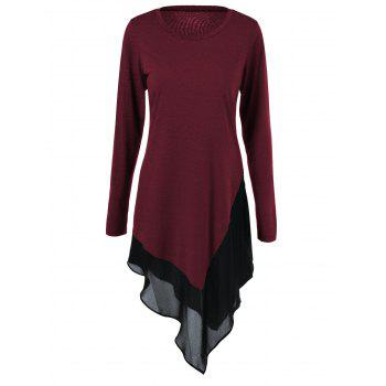 Plus Size Chiffon Trim Asymmetrical Dress