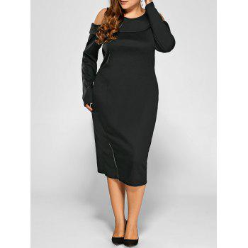 Cold Shoulder Plus Size Long Dress with Zipper
