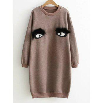 Crew Neck Eye Pattern Sweatshirt Dress