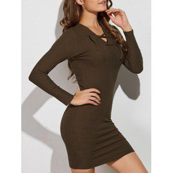 V Neck Lace Up Sweater Dress