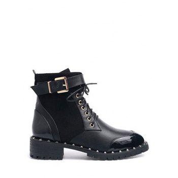 Splicing Rivets Tie Up Ankle Boots
