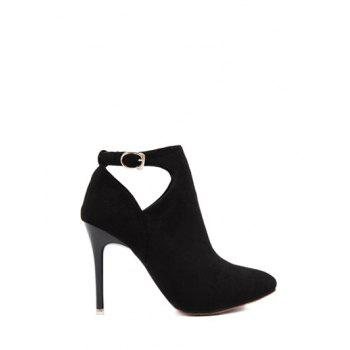 Flock Stiletto Heel Hollow Out Ankle Boots