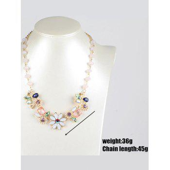 Faux Crystal Flower Necklace - GOLDEN