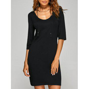 Scoop Neck 3/4 Sleeve Bodycon Dress