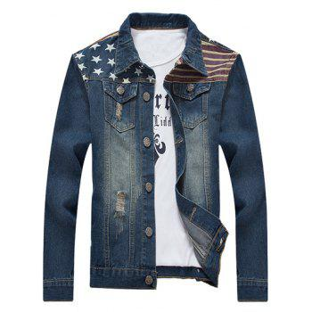 Star Stripe Print Distressed Denim Jacket