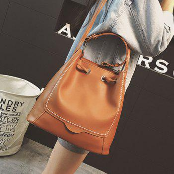 PU Leather Stitching Drawstring Shoulder Bag
