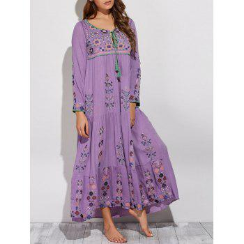 Bohemian Scoop Neck Embroidered Swing Maxi Dress