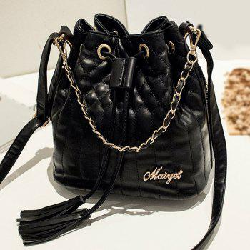 Tassel Quilted Chains Bucket Bag