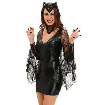 Bat Cosplay Suit Long Sleeve Faux Leather Dress Halloween Costume - BLACK BLACK