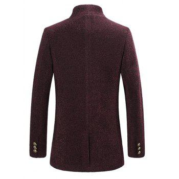 Single Breasted Textured Rough Wool Mix Coat - WINE RED WINE RED