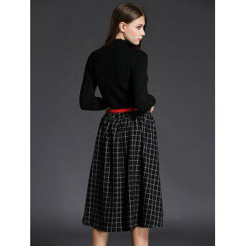Ribbed Knitwear With Plaid Belted Skirt - BLACK BLACK