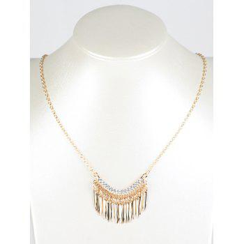 Rhinestone Leaf Fringe Metal Necklace - GOLDEN GOLDEN