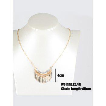 Rhinestone Leaf Fringe Metal Necklace -  GOLDEN