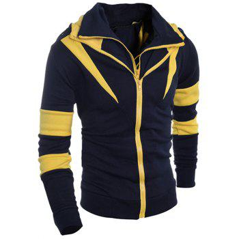 Drawstring Contraste Couleur Paneled Double Zip Hoodie - Jaune XL