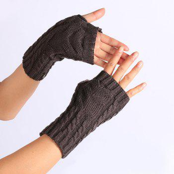 Knitted Twist Owl Fingerless Gloves - DEEP GRAY