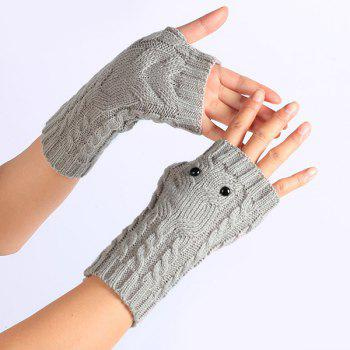 Knitted Twist Owl Fingerless Gloves - LIGHT GRAY