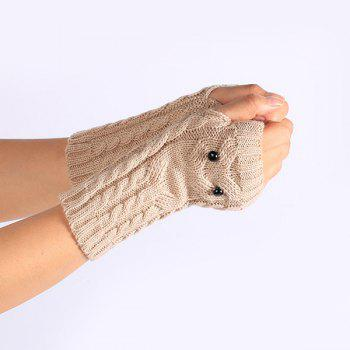 Knitted Twist Owl Fingerless Gloves - BEIGE