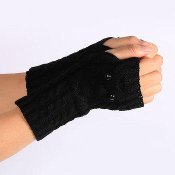 Knitted Twist Owl Fingerless Gloves - BLACK
