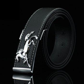 Casual Polished Horse Hidden Pin Buckle PU Belt - BLACK