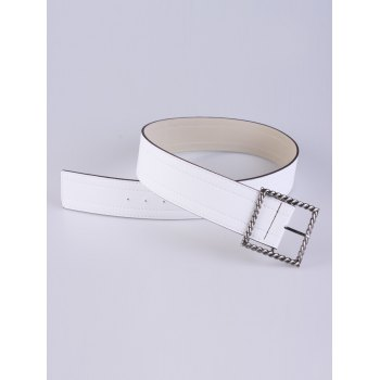 Coat Wear Hollow Twist Square Pin Buckle Belt - WHITE