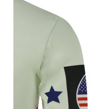 Crew Neck USA Flag Star Printed Long Sleeve Sweatshirt - COLORMIX L