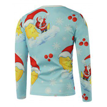 Santa Moon Snowflake Printed Long Sleeve Sweatshirt - LIGHT BLUE L