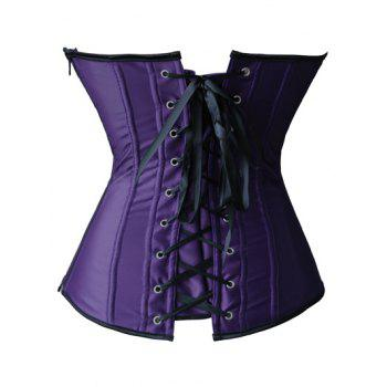 Applique Corset + Tiered Mesh Skirt Twinset - PURPLE L