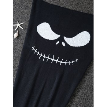 Funny Cartoon Pattern Knitted Mermaid Tail Blanket - BLACK L