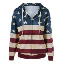 American Flag Pattern Zipper Up Hoodie