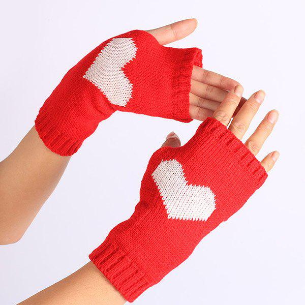 Heart Knitted Fingerless Gloves - RED