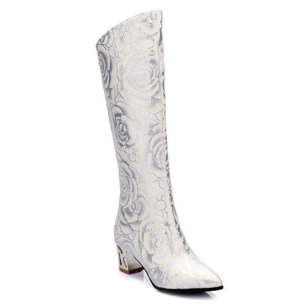 Floral Print Chunky Heel Pointed Toe Boots - WHITE 37