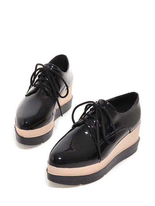 Plate-forme Tie Up Pointu Wedege Chaussures - Noir 39