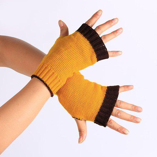 Color Block Fingerless Gloves - SWEET ORANGE
