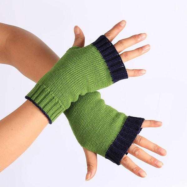 Color Block Fingerless Gloves - PURPLISH BLUE