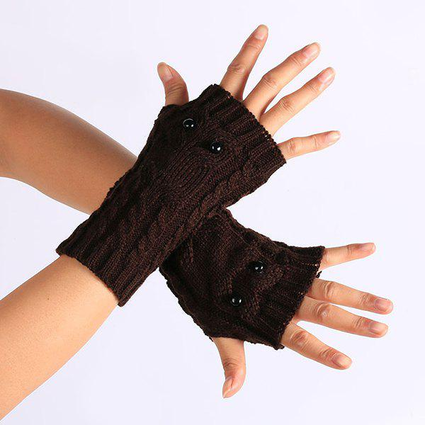 Knitted Twist Owl Fingerless Gloves - COFFEE