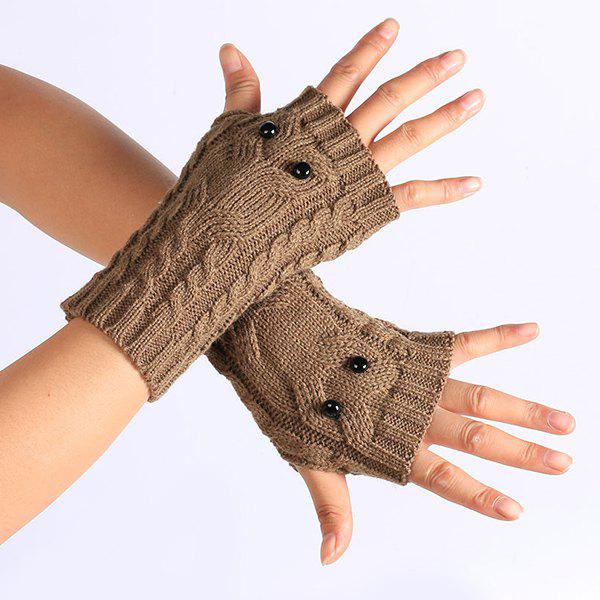 Knitted Twist Owl Fingerless Gloves - KHAKI