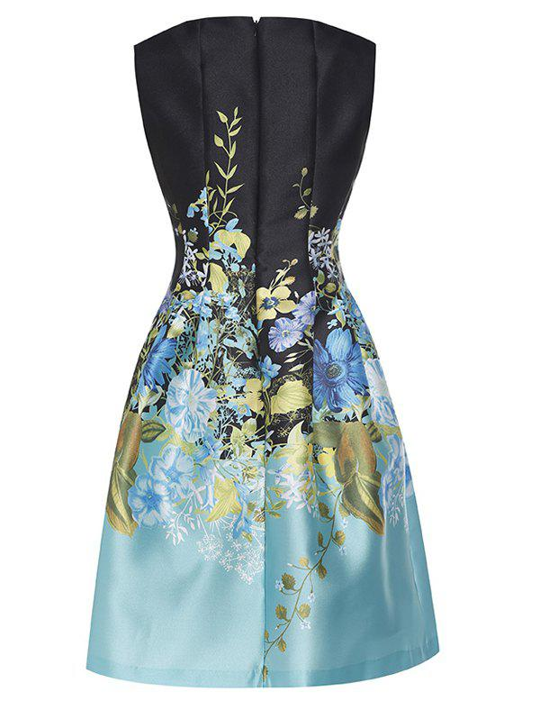 Embroidered Vintage Fit and Flare Dress - BLUE S