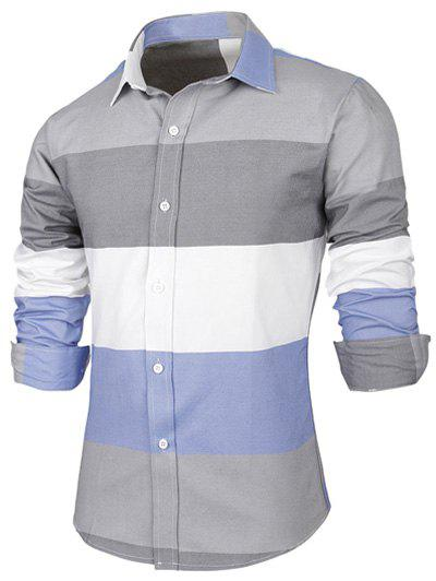 Long Sleeve Contrast Color Striped Shirt - GRAY 2XL