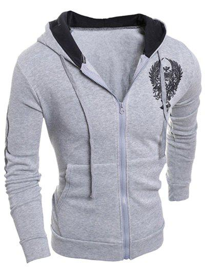 Graphic Printed Drawstring Long Sleeve Zip Up Hoodie ornate printed zip up long sleeve hoodie
