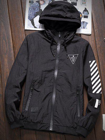 Stripe 51 Printed Zipper-Up Hooded Jacket - BLACK L