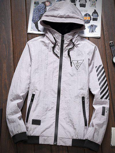 Stripe 51 Printed Zipper-Up Hooded Jacket - GRAY 5XL