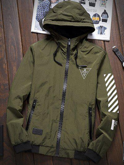 Stripe 51 Printed Zipper-Up Hooded Jacket - ARMY GREEN L