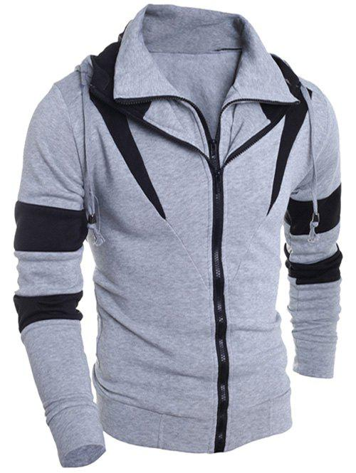 Drawstring Contraste Couleur Paneled Double Zip Hoodie - gris M
