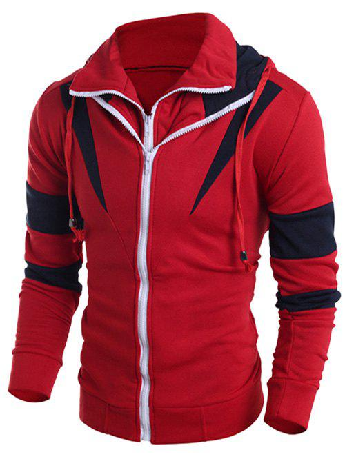 Drawstring Contraste Couleur Paneled Double Zip Hoodie - Rouge 2XL